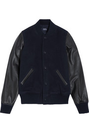 A.P.C. Atelier de Production et de Création Teddy Rizzo II leather-paneled wool-blend bomber jacket