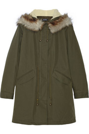 A.P.C. Atelier de Production et de Création Mod faux fur-trimmed cotton-blend twill parka