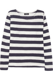 A.P.C. Atelier de Production et de Création Striped cotton and linen-blend top