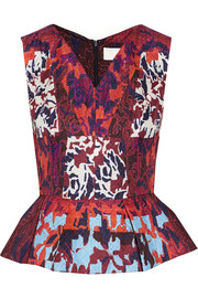 Peter Pilotto RH printed silk-blend cloqué peplum top
