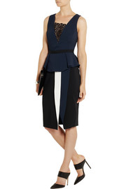 Peter Pilotto Mila lace-paneled stretch-crepe peplum top