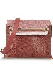 Clare small python and leather shoulder bag