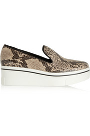 Stella McCartney Glossed snake-effect faux leather sneakers