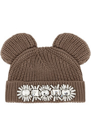 Markus Lupfer Cat Ear crystal-embellished merino wool beanie