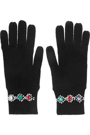Markus Lupfer Crystal-embellished merino wool gloves