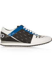 KENZO Leather and printed canvas sneakers
