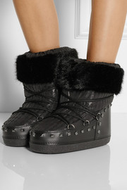 Karl Lagerfeld Faux shearling-trimmed shell and faux leather boots