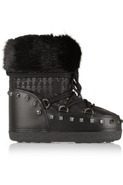 Faux shearling-trimmed shell and faux leather boots