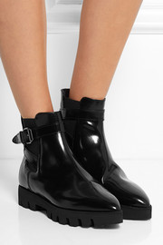 Karl Lagerfeld Glossed-leather ankle boots