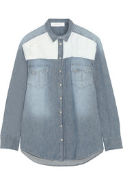 Cora leather-paneled denim shirt