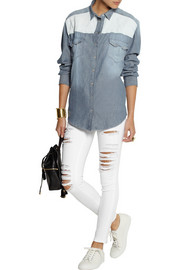 IRO Cora leather-paneled denim shirt