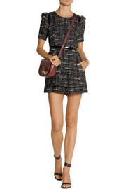 Milly Loulou leather-trimmed tweed playsuit
