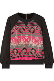 Milly Jacquard-paneled jersey sweatshirt