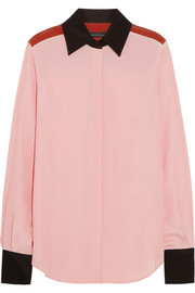 Jonathan Saunders Bailey color-block washed-crepe shirt