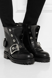 Alexander McQueen Buckled leather biker boots