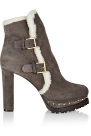 Alexander McQueen Shearling-lined suede platform ankle boots
