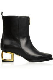 Maiyet Cutout-heel leather ankle boots
