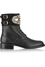 René Caovilla Crystal-embellished suede and leather ankle boots