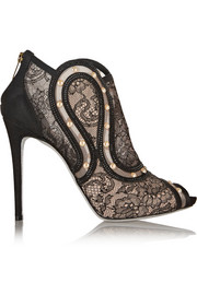 René Caovilla Embellished lace and mesh peep-toe ankle boots