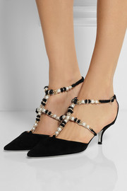 René Caovilla Swarovski crystal and faux pearl-embellished suede pumps