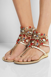 René Caovilla Atena Swarovski crystal-embellished lizard-effect leather sandals