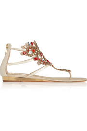 Atena Swarovski crystal-embellished lizard-effect leather sandals