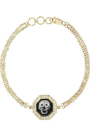Holly Dyment Skull 18-karat gold, spinel and diamond bracelet