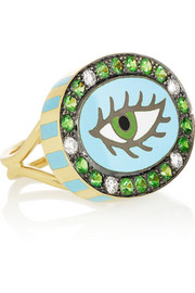 Holly Dyment Green Eye 18-karat gold diamond and tsavorite ring