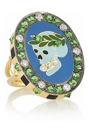 Holly Dyment Wednesday 18-karat gold, enamel, diamond and tsavorite ring