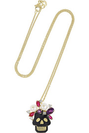 Holly Dyment Skull 18-karat gold multi stone necklace