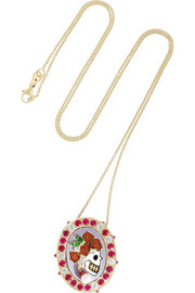 Holly Dyment Lady Skull 18-karat gold multi stone necklace