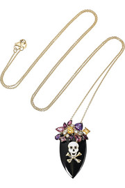 Holly Dyment Skull and Bones 14-karat gold and enamel multi-stone necklace