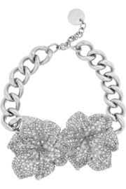Alexander McQueen Silver-plated Swarovski crystal necklace