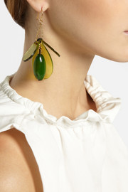Marni Gold-plated, horn and acetate drop earrings
