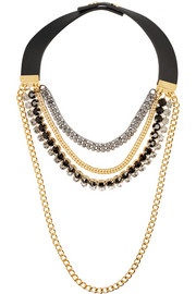 Marni Leather and crystal multi-strand necklace