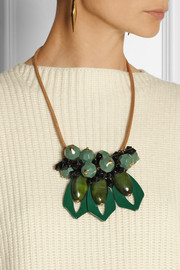 Marni Leather, resin and horn necklace