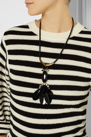 Marni Leather, horn and crystal necklace