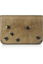 Crystal-embellished metallic leather clutch