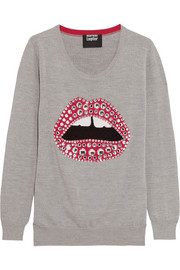 Embellished lip-intarsia merino wool sweater