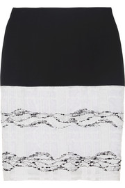 Prabal Gurung Stretch-wool crepe and organza-tweed pencil skirt