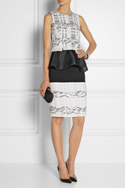 Prabal Gurung Tweed-trimmed organza peplum top