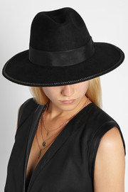 Karl Lagerfeld Chain and grosgrain-trimmed wool-felt fedora
