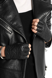Karl Lagerfeld K/Kuilted fingerless leather gloves