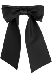 Karl Lagerfeld Nadine leather and stretch cotton-blend bow collar