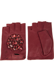 Karl Lagerfeld Crystal-embellished fingerless leather gloves