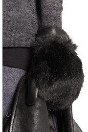 Karl Lagerfeld Faux fur-paneled leather mittens