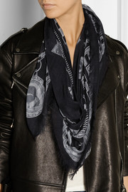 Karl Lagerfeld Iconic Hardware printed modal and cotton-blend scarf