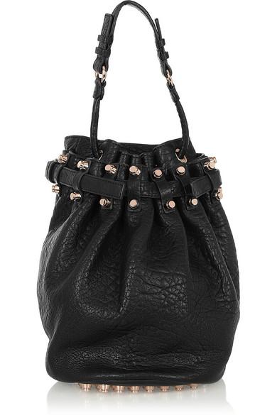 alexander wang female alexander wang diego texturedleather shoulder bag black