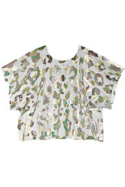 Julien David Foil-print tulle top