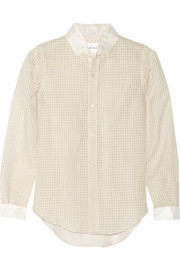 Gingham-patterned cotton-blend shirt